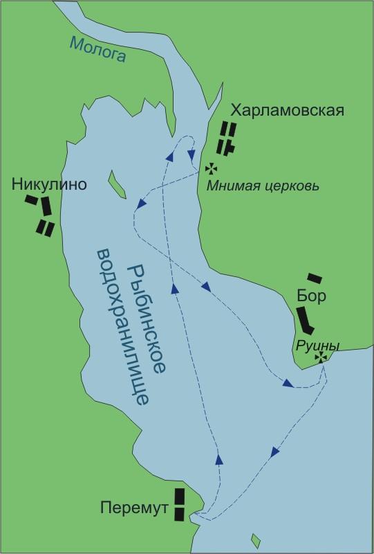 Схема Рыбинского водохранилища